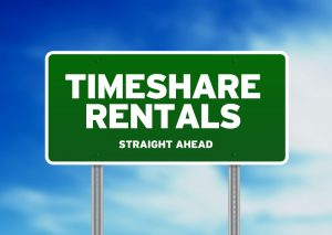 timeshare rentals road sign