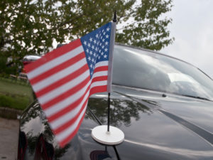 flag on car