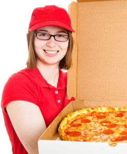 teen girl pizza delivery