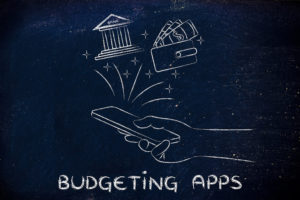 smartphone with bank and wallet coming out of the screen, with text Budgeting apps