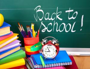 back to school items chalkboard