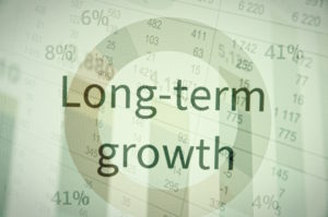 "Inscription ""Long-term growth"". Corporate earnings concept."
